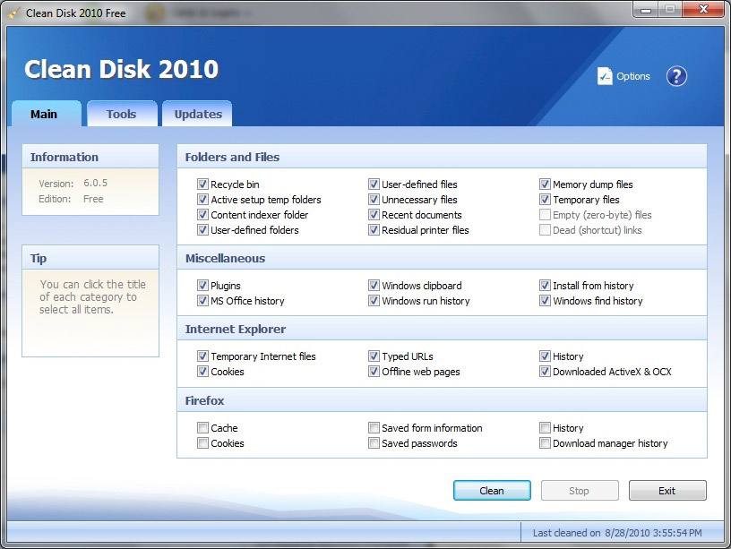 Click to view Clean Disk 2010 screenshots